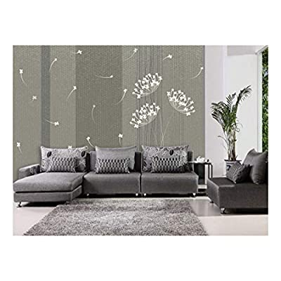 Wonderful Craft, Created Just For You, Classy Fun Silouhette of a White Dandelion on a Neutral Striped Textured Background Wall Mural