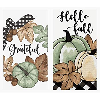 SeasonsEasy Hello Fall and Grateful Wreath Kitchen Towel Set for The Autumn Season and Thanksgiving Holiday, Set of 2 Cotton Towels Textured Print Front Reversing to White Terry Cloth