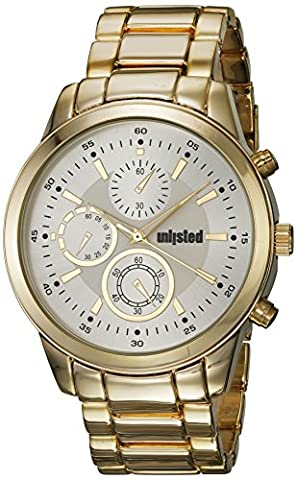 UNLISTED WATCHES Men's 'Sport' Quartz Metal and Alloy Casual Watch, Color:Gold-Toned (Model: (Geneva Watches Men Gold)