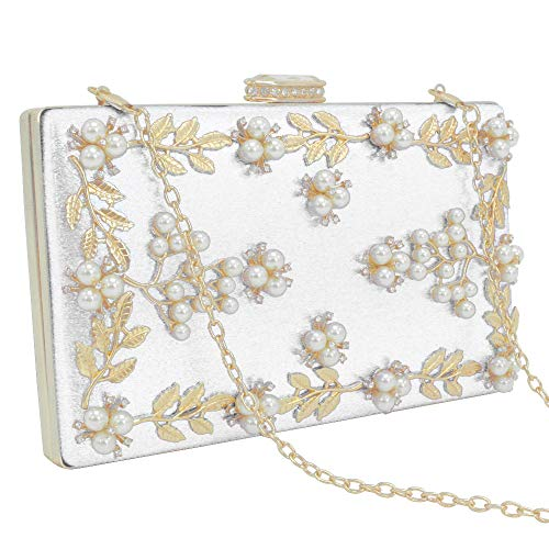 Women's Small Beaded White Wocharm Purse Flower Party Clutches Wallets Wedding Handbag SwCxPdqg