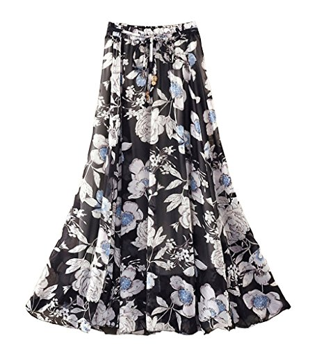 OUYE Women's Elastic Waist Pleated Chiffon Long Skirt Black