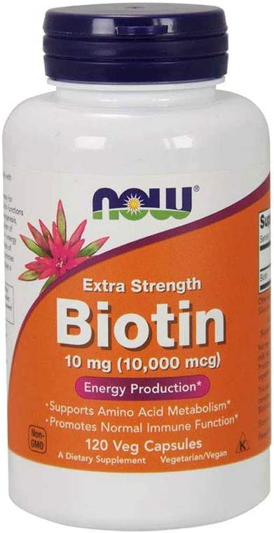 Amazon.com: NOW Supplements, Biotin 10 mg (10,000 mcg), Extra Strength, Energy Production*, 120 Veg Capsules: Health & Personal Care