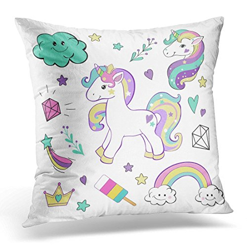 SPXUBZ Pink Head Unicorn Pop Collection White Rainbow Girl Decorative Home Decor Square Indoor/Outdoor Pillowcase Size: 20x20 Inch(Two Sides) -