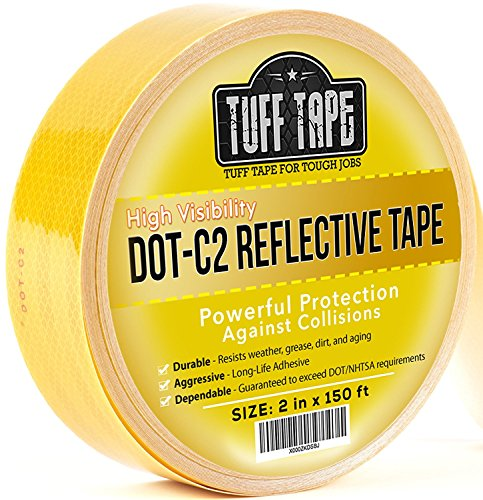 DOT Reflective Tape - YELLOW - DOT-C2 Conspiciuity Tape - COMMERCIAL ROLL - 2 inch x 150 FEET - School Bus Truck Trailer Boat Semi - Diamond Grade