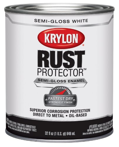 Krylon K06921300 Rust Protector and Preventative Enamel with Primer Quarts, Semi-Gloss White - No Rust White Metal Paint