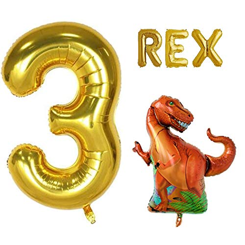 Rose&Wood Huge 3 Rex Balloon Set Three Year Old Birthday Dinosaur Party Dinosaur Theme Decor 3 Year Old Celebration Dinosaur Party -