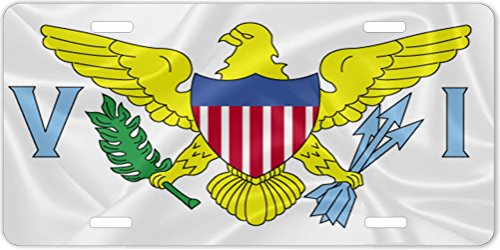 (Rikki Knight Virgin Islands Flag Design License Plate)