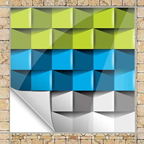 Pbof Wall Stickers, 3D 10 Pcs Multicolor Ceramic Tile Stickers Self Adhesive Waterproof Wall Stickers Living Room Kitchen