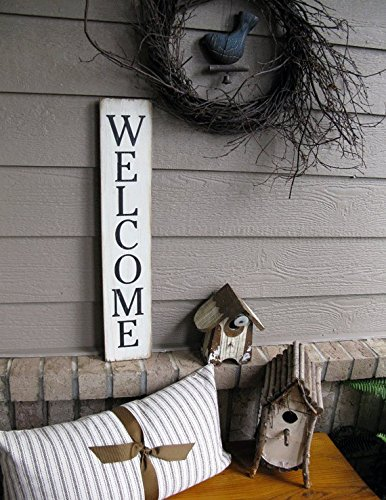 Olga212Patrick Vertical Welcome sign Wood Hand printed Welcome sign 25 inches x 15 inches Welcome sign Vertical Farmhouse Wall Decor