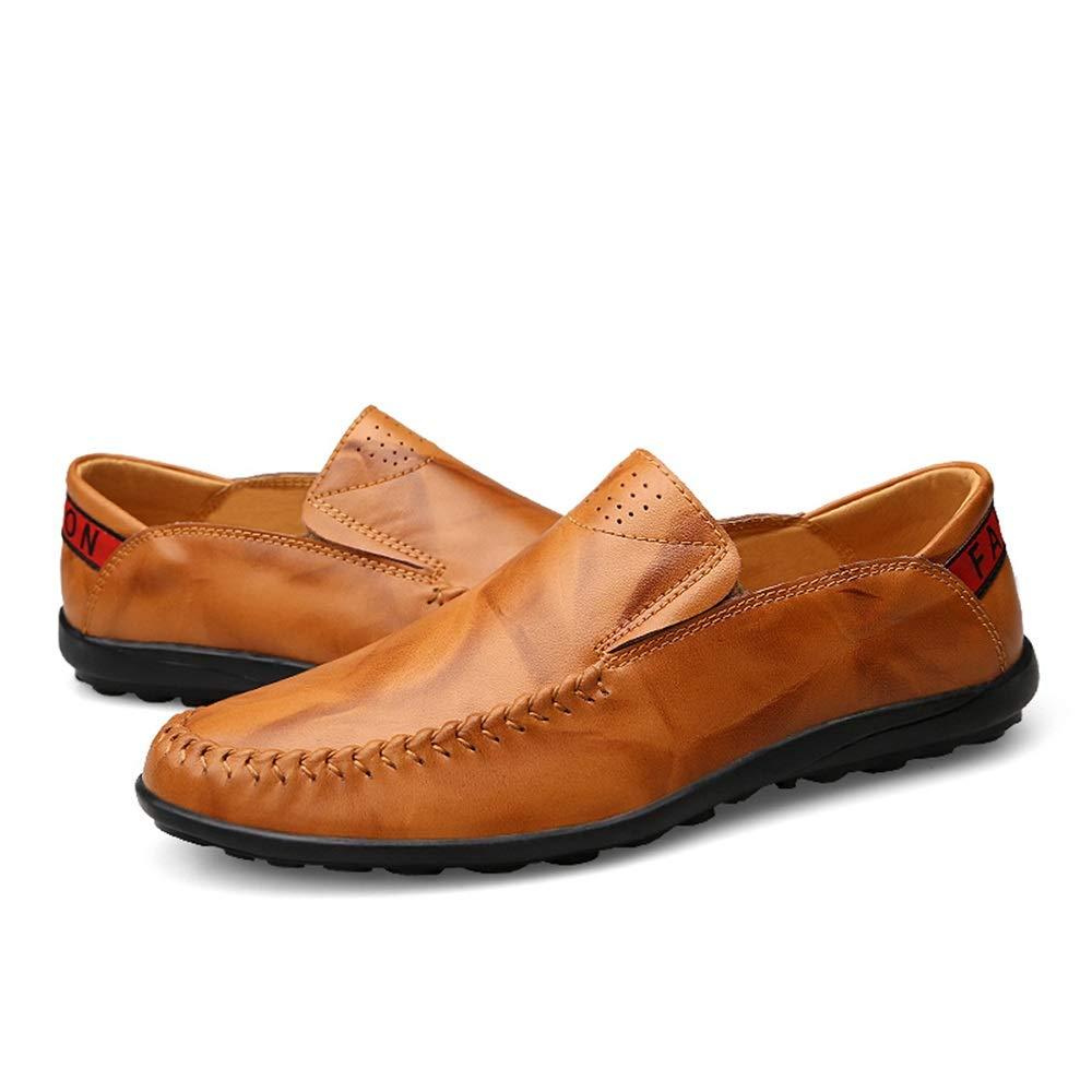 Herren Penny Loafers Leichte Slip-on Runde Toe Loafers Loafers Loafers Obermaterial aus Leder Flache gefütterte Driving Dress Schuhe Langlebig Atmungsaktiv,Grille Schuhe (Farbe   Rot, Größe   42 EU)  3c41d1