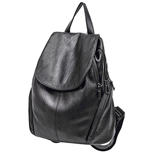 ELOMBR Women's Backpack Purse Pu Leather Ladies Casual Shoulder Bag School Bag for Girls (Black3) by ELOMBR