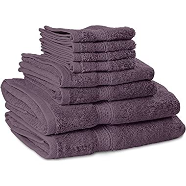 Premium 8 Piece Towel Set (Plum); 2 Bath Towels, 2 Hand Towels and 4 Washcloths - Cotton - Machine Washable, Hotel Quality, Super Soft and Highly Absorbent by Utopia Towels