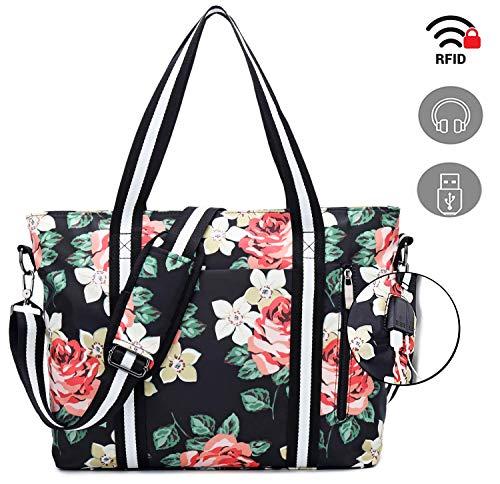 (Travel Laptop Tote Bag with USB Charging Port,Womens Business Messenger Handbags Computer Shoulder Bag Laptop Case Fits 17 Inch)