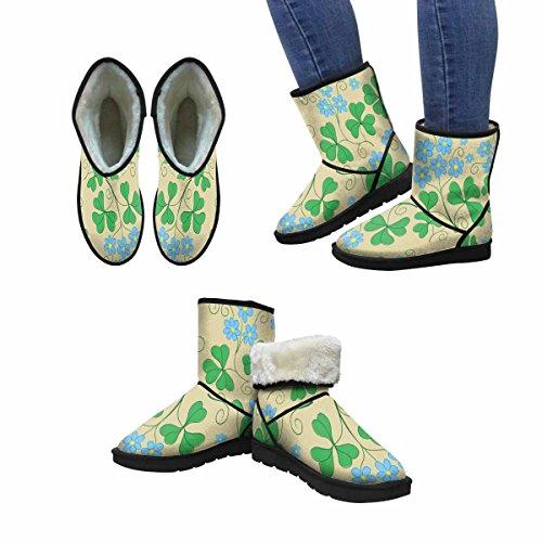 Snow Boots Donna Winterprint Texture Floreale Con Fiori Blu Design Unico Comfort Invernale Stivali Multi 1