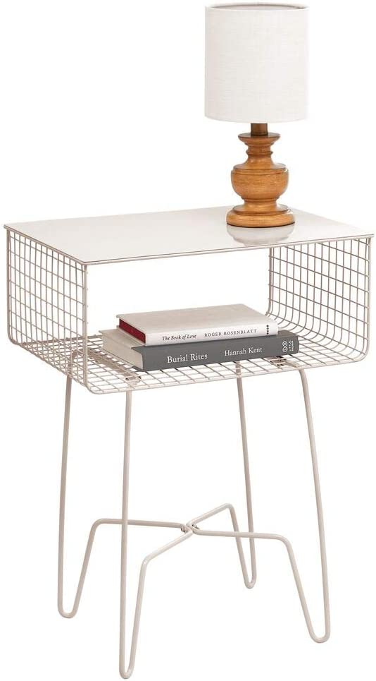 mDesign Modern Farmhouse Side/End Table - Solid Metal Design, Open Storage Shelf Basket, Hairpin Legs - Sturdy Vintage, Rustic, Industrial Home Decor Accent Furniture for Living Room, Bedroom - Cream