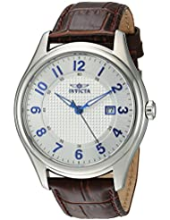 Invicta Mens Vintage Swiss Quartz Stainless Steel and Leather Casual Watch, Color:Brown (Model: 23015)