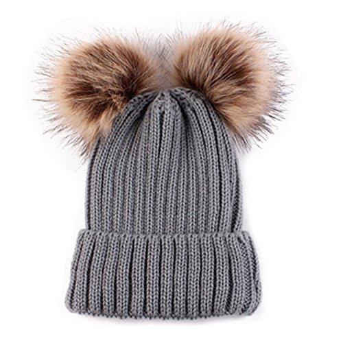 60%OFF HMILYDYK Fashion de punto acanalado gorro de invierno suave piel  sintética de doble f32ee609b29