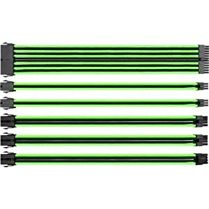 Thermaltake TtMod Sleeve Extension Power Supply Cable Kit ATX/EPS/8-pin PCI-E/6-pin PCI-E with Combs, Green/Black AC-034…