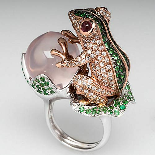 - Endicot Frog Peach Emerald White Topaz 925 Silver Ring Wedding Engagement Size 6-10 | Model RNG - 18514 | 9