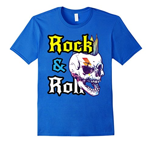 Mens Rock n Roll T Shirt - Rock Men Shirt - Rock Skull T Shirt Medium Royal Blue 50's Style Rock N Roll