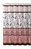 Coral Pink Shower Curtain VCNY Home Pink Coral Fabric Shower Curtain: Contemporary Floral Bordered Damask Design, 72 by 72 Inches