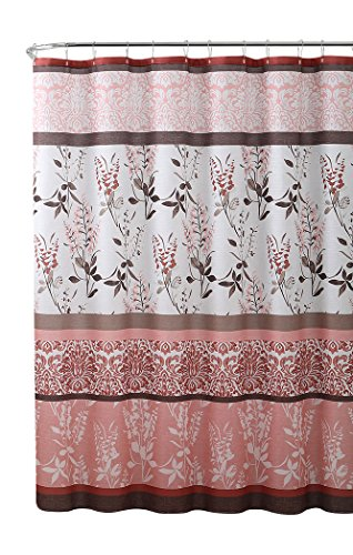 VCNY Home Pink Coral Fabric Shower Curtain: Contemporary Floral Bordered Damask Design, 72 by 72 - Curtain Contemporary Floral