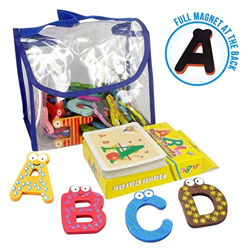 Joy Abc's | 4sets of 40Pcs Wooden Refrigerator Alphabet Letters Numbers Magnets with Flash Card Bonus | Full Magnet at the Back and Safe Shaped Sized for Kids Toddler | Packed in a Tote Bag | 245.04 Joy Red Letters