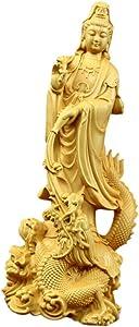 Guan Yin Statue Wood Fengshui Chinese Lucky Happiness Buddha Sculpture Kwan Yin Figurine Kuan Yin Ornament for Home Office Decor Housewarming Gifts 6.2x5.5x17cm