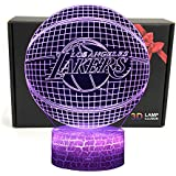 LED NBA Team Los Angeles Lakers 3D Optical Illusion Smart 7 Colors Night Light Table Lamp with USB Power Cable