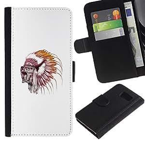 LECELL--Cuero de la tarjeta la carpeta del tirón Smartphone Slots Protección Holder For Sony Xperia Z3 Compact -- Grizzly Bear Jefe del nativo americano --