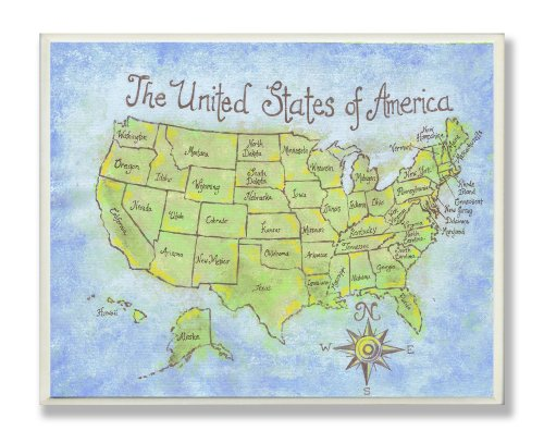 The Kids Room by Stupell USA Map Rectangle Wall - Plaque Map