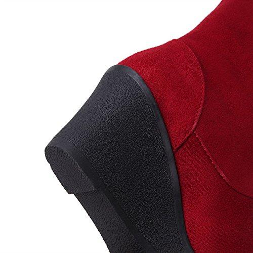 AllhqFashion Mujeres Sólido Tacón Medio Puntera Redonda Gamuza(Imitado) Sin cordones Botas Rojo