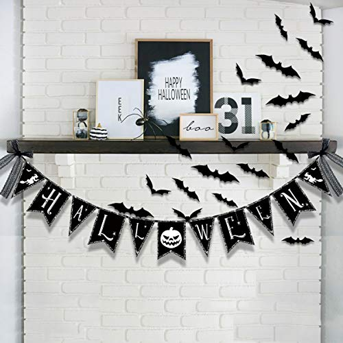 Halloween Decorations Banner - Spider Web Theme Paper Garland with 3D Bat Stickers Gifts, Black Bunting Pennant Burlap for Happy Fall Home Wall Hanging Mantel Fireplace Photography Party -