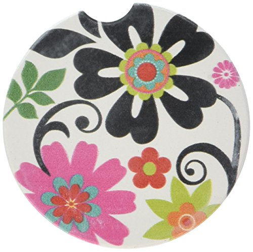 CounterArt Absorbent Stoneware Car Coaster, Metro Bold, Set of 2