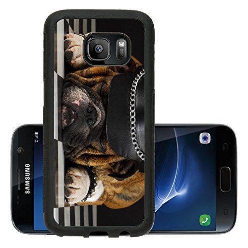 Luxlady Premium Samsung Galaxy S7 Aluminum Backplate Bumper Snap Case IMAGE ID 7776783 english bulldog wearing black leather dressed up like motorcycle (T Mobile Halloween Costume)