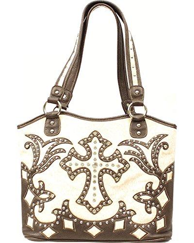 Blazin Roxx Women's Boot Top Fancy Cross Shoulder Bag Cream One (Boot Top Purse)