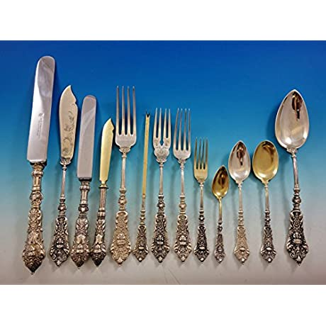 German 800 Silver Figural No 36 Flatware Set Service Dinner Size 204 Pieces