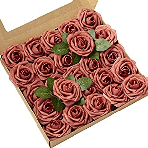 Ling's moment Artificial Flowers Dusty Cedar Roses 25pcs Real Looking Fake Roses w/Stem for DIY Wedding Bouquets Centerpieces Arrangements Party Baby Shower Home Decorations 21