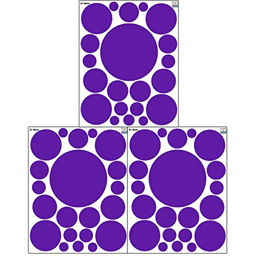 Purple Decals - Polka Dot Wall Stickers, (63) Wall Decor Stickers, Wall Dots, Vinyl Circle Room Dot Decals 3