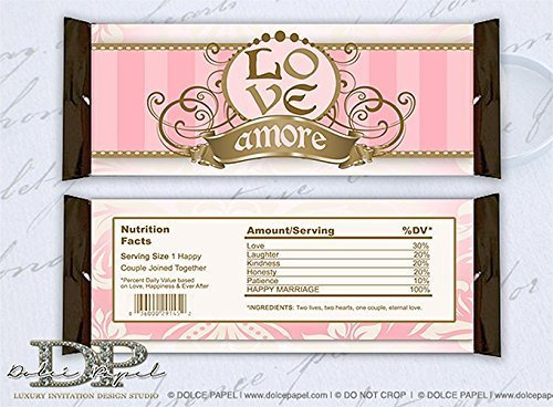 10 LOVE Amore Paris Inspired Pink and Brown Large Hershey Candy Bar - Amore Candy