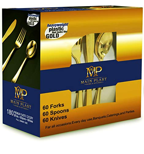 MAINPLAST Gold Disposable Cutlery Set -180 Pieces - Knives, Spoons, and Forks - Heavy Duty Plastic Eating Utensils For Parties, Restaurants Or Home Use, Full Dinner Size of Gold Plastic (Eating Dinner)