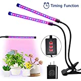 MOONBROOK Plant Grow Light Timing Function Auto Off Dual Head Grow Light 3 Modes Timer (3H/6H/12H) Dimmable 5 Levels Adjustable with 360 Degree Flexible Gooseneck LED Plant Growing Lamp for Indoor Plants
