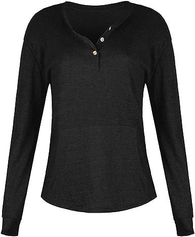 LGWQ Camisa de Color Liso para Mujer con diseño de Botones Camiseta Cuello en V Camisas Blusa con Botones: Amazon.es: Ropa y accesorios