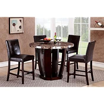 Amazon Com Gtu Furniture 5pc Round Faux Marble Top Table