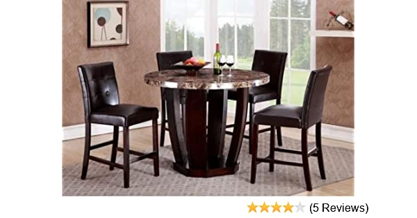 Amazon.com   GTU Furniture 5Pc Round Faux Marble Top Table With 4 Leather  Chairs, Counter Height Kitchen U0026 Dining Room Set   Table U0026 Chair Sets