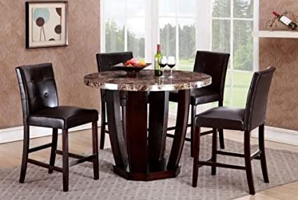 Superieur GTU Furniture 5Pc Round Faux Marble Top Table With 4 Leather Chairs,  Counter Height Kitchen