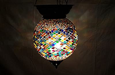 XXL moroccan lantern mosaic hanging lamp glass chandelier light turkish candle holder m 47