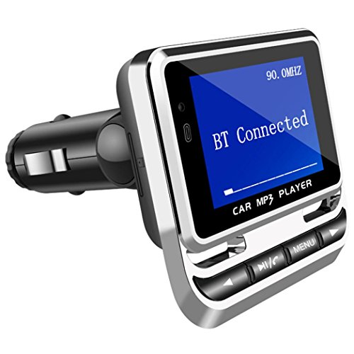Chrikathy Car Bluetooth MP3 FM12B 1.4 inch Screen Display USB Charging Wireless Audio Adapter Receiver Support Hands-Free Phone Micro SD Card TF (Mhz Display)