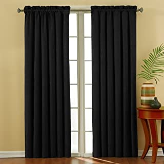 Eclipse Suede 42-Inch by 63-Inch Thermaback Blackout Panel, Black by Eclipse