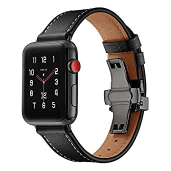 BONSTRAP Compatible with Black Leather Watch Band 40mm 38mm for Apple Watch Series 1 2 3 4